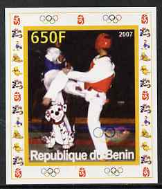 Benin 2007 Kick Boxing - individual imperf deluxe sheet with Olympic Rings & Disney Character unmounted mint. Note this item is privately produced and is offered purely on its thematic appeal