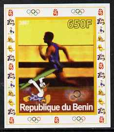 Benin 2007 Running - individual imperf deluxe sheet with Olympic Rings & Disney Character unmounted mint. Note this item is privately produced and is offered purely on its thematic appeal
