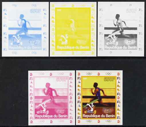 Benin 2007 Running - individual deluxe sheet with Olympic Rings & Disney Character - the set of 5 imperf progressive proofs comprising the 4 individual colours plus all 4-colour composite, unmounted mint