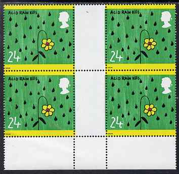 Great Britain 1992 Protection of the Environment - 24p Acid Rain positional gutter block of 4, one stamp with large dot by value, unmounted mint SG1629 var