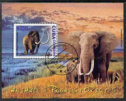 Cuba 2002 Prehistoric Animals (Mammoth & Elephant) perf m/sheet cto used