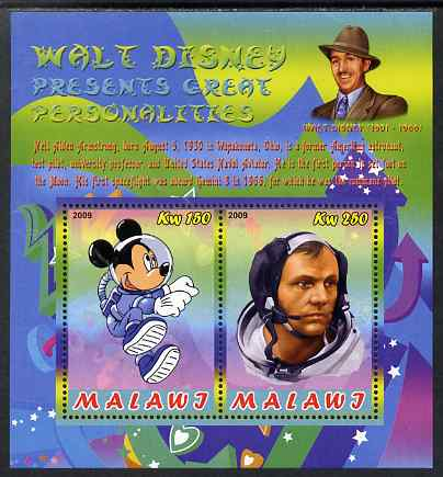 Malawi 2009 Walt Disney Presents Great Personalities - Neil Armstrong perf sheetlet containing 2 values unmounted mint
