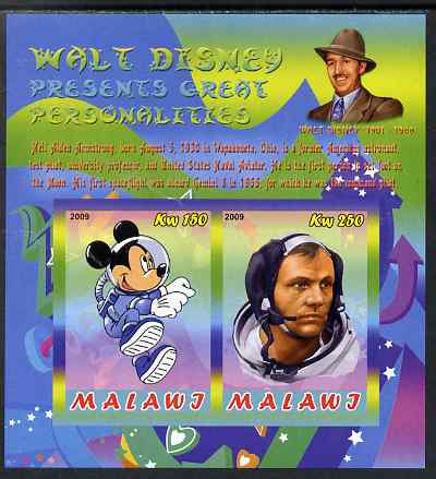 Malawi 2009 Walt Disney Presents Great Personalities - Neil Armstrong imperf sheetlet containing 2 values unmounted mint