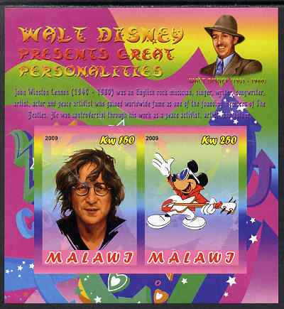 Malawi 2009 Walt Disney Presents Great Personalities - John Lennon imperf sheetlet containing 2 values unmounted mint