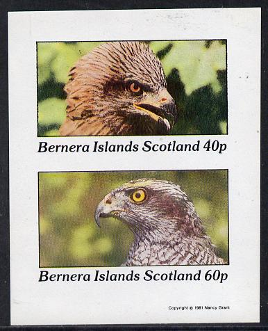 Bernera 1981 Birds of Prey  imperf  set of 2 values (40p & 60p) unmounted mint