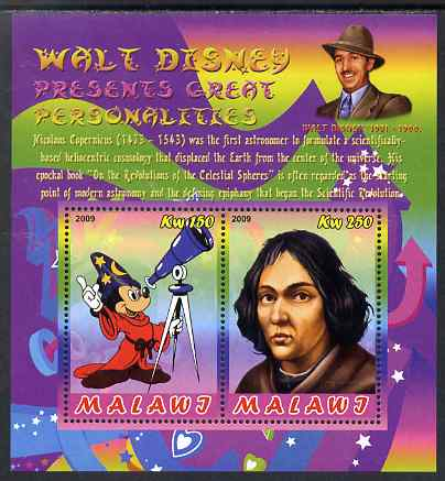 Malawi 2009 Walt Disney Presents Great Personalities - Copernicus perf sheetlet containing 2 values unmounted mint