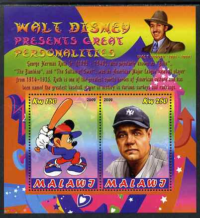 Malawi 2009 Walt Disney Presents Great Personalities - Babe Ruth perf sheetlet containing 2 values unmounted mint