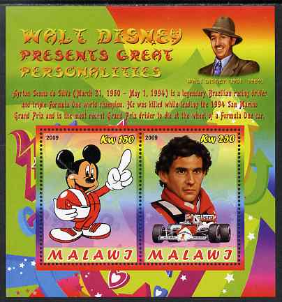 Malawi 2009 Walt Disney Presents Great Personalities - Ayrton Senna perf sheetlet containing 2 values unmounted mint