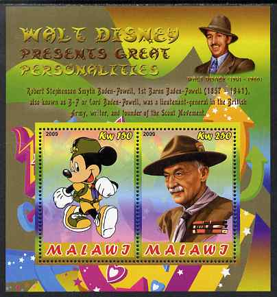 Malawi 2009 Walt Disney Presents Great Personalities - Baden Powell perf sheetlet containing 2 values unmounted mint