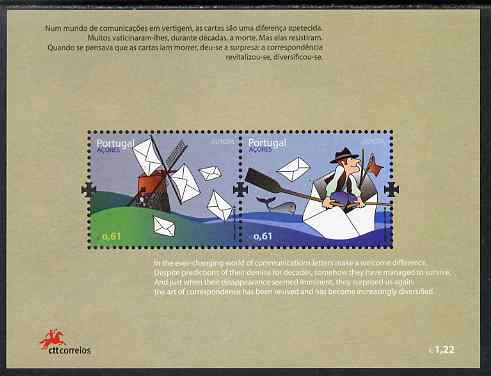Portugal - Azores 2008 Europa - Writing Letters perf m/sheet containing 2 values unmounted mint