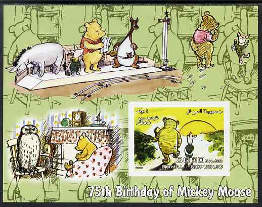 Somalia 2003 75th Birthday of Mickey Mouse - Winnie the Pooh #1 imperf s/sheet unmounted mint. Note this item is privately produced and is offered purely on its thematic appeal