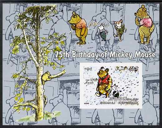 Somalia 2003 75th Birthday of Mickey Mouse - Winnie the Pooh #2 imperf s/sheet unmounted mint. Note this item is privately produced and is offered purely on its thematic appeal