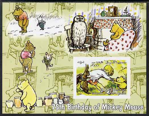 Somalia 2003 75th Birthday of Mickey Mouse - Winnie the Pooh #3 imperf s/sheet unmounted mint. Note this item is privately produced and is offered purely on its thematic appeal