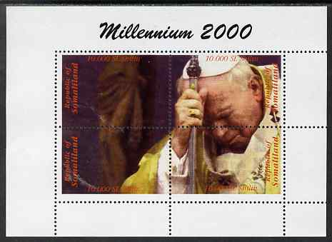 Somaliland 2000 Millennium 2000 - Pope perf composite sheetlet containing 4 values unmounted mint