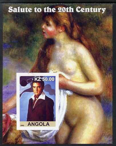 Angola 2002 Salute to the 20th Century #01 imperf s/sheet - Elvis & Nude by Renoir, unmounted mint. Note this item is privately produced and is offered purely on its them...