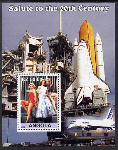 Angola 2002 Salute to the 20th Century #08 perf s/sheet - Marilyn & Space Shuttle, unmounted mint. Note this item is privately produced and is offered purely on its thema...