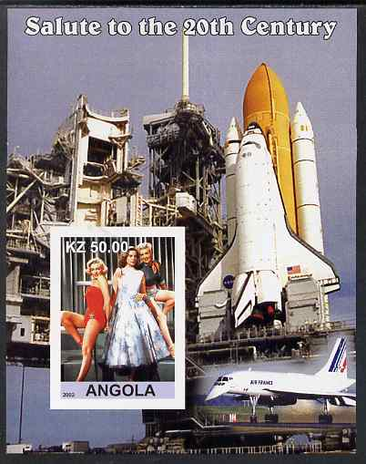 Angola 2002 Salute to the 20th Century #08 imperf s/sheet - Marilyn & Space Shuttle, unmounted mint. Note this item is privately produced and is offered purely on its the...