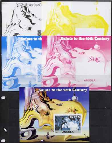 Angola 2002 Salute to the 20th Century #04 s/sheet - Marilyn & Painting by Dali - the set of 5 imperf progressive proofs comprising the 4 individual colours plus all 4-colour composite, unmounted mint
