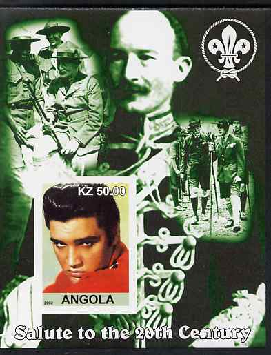 Angola 2002 Salute to the 20th Century #06 imperf s/sheet - Elvis & Baden Powell, unmounted mint