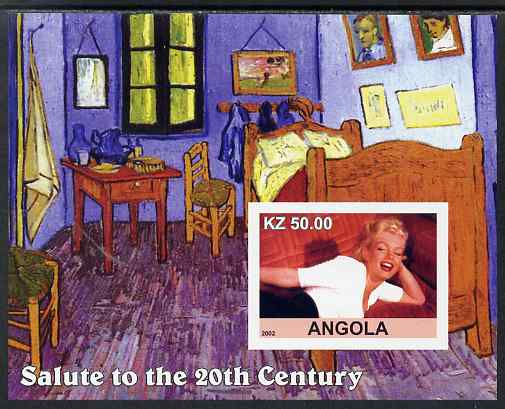 Angola 2002 Salute to the 20th Century #07 imperf s/sheet - Marilyn & Painting by Van Gogh, unmounted mint. Note this item is privately produced and is offered purely on ...