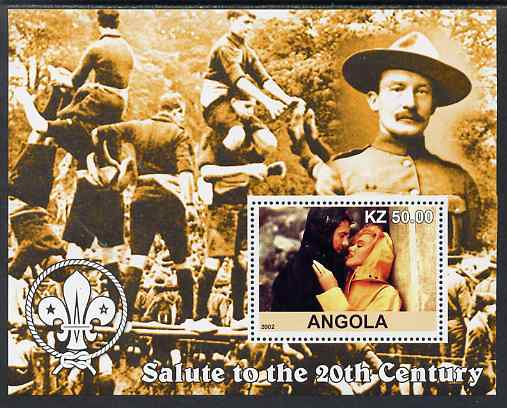 Angola 2002 Salute to the 20th Century #09 perf s/sheet - Marilyn & Baden Powell, unmounted mint. Note this item is privately produced and is offered purely on its thematic appeal