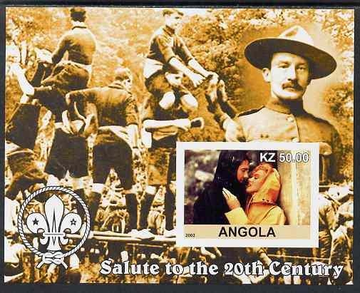 Angola 2002 Salute to the 20th Century #09 imperf s/sheet - Marilyn & Baden Powell, unmounted mint. Note this item is privately produced and is offered purely on its thematic appeal