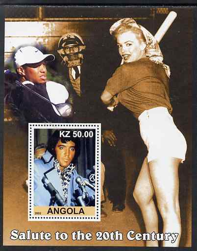 Angola 2002 Salute to the 20th Century #10 perf s/sheet - Elvis, Marilyn & Tiger Woods, unmounted mint. Note this item is privately produced and is offered purely on its thematic appeal