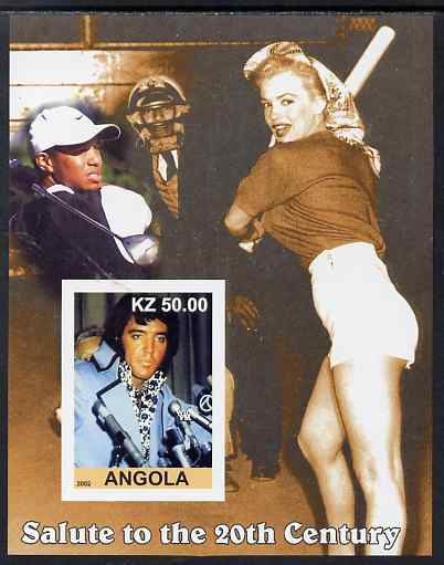 Angola 2002 Salute to the 20th Century #10 imperf s/sheet - Elvis, Marilyn & Tiger Woods, unmounted mint. Note this item is privately produced and is offered purely on its thematic appeal
