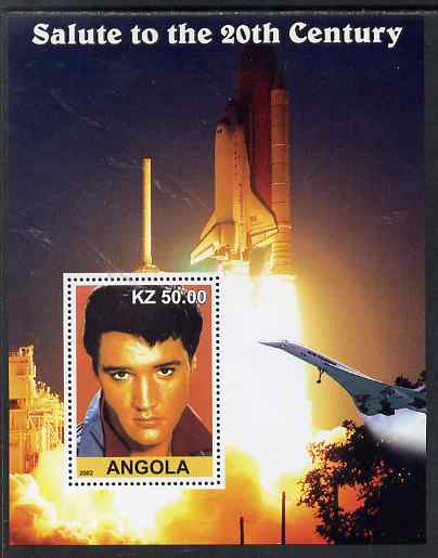 Angola 2002 Salute to the 20th Century #11 perf s/sheet - Elvis, Concorde & Space Shuttle, unmounted mint