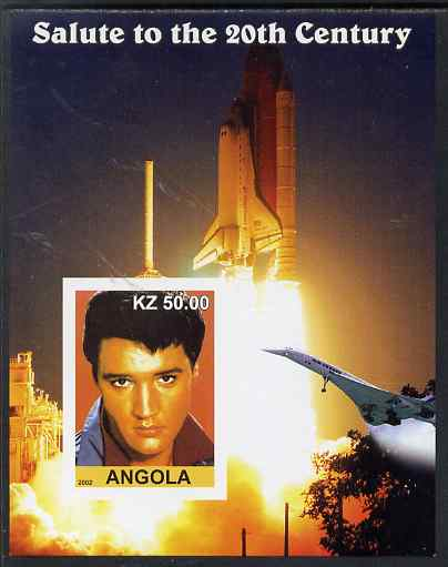 Angola 2002 Salute to the 20th Century #11 imperf s/sheet - Elvis, Concorde & Space Shuttle, unmounted mint. Note this item is privately produced and is offered purely on...