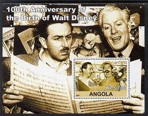 Angola 2001 Birth Centenary of Walt Disney #04 perf s/sheet - Walt Disney & Nelson Eddie, unmounted mint. Note this item is privately produced and is offered purely on it...