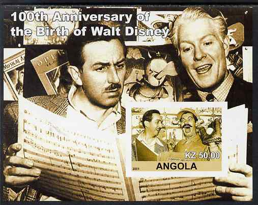 Angola 2001 Birth Centenary of Walt Disney #04 imperf s/sheet - Walt Disney & Nelson Eddie, unmounted mint. Note this item is privately produced and is offered purely on ...