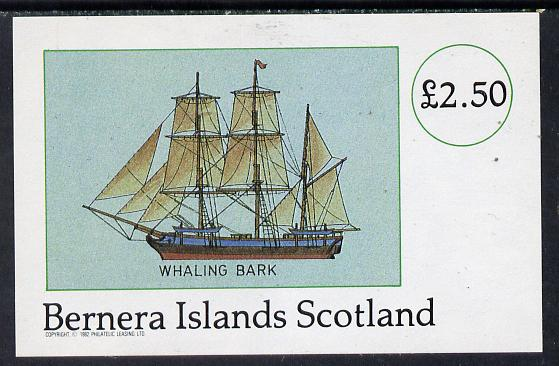 Bernera 1982 Fishing Boats (Whaling Bark) imperf deluxe sheet (�2.50 value) unmounted mint