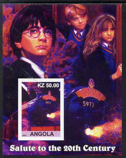 Angola 2002 Salute to the 20th Century #13 imperf s/sheet - Harry Potter & Hogwarts Express, unmounted mint. Note this item is privately produced and is offered purely on...