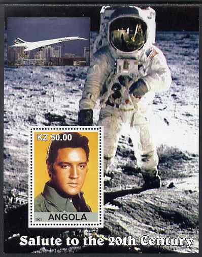 Angola 2002 Salute to the 20th Century #12 perf s/sheet - Elvis, Concorde & Neil Armstrong, unmounted mint. Note this item is privately produced and is offered purely on its thematic appeal