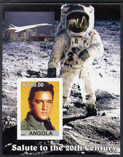 Angola 2002 Salute to the 20th Century #12 imperf s/sheet - Elvis, Concorde & Neil Armstrong, unmounted mint. Note this item is privately produced and is offered purely on its thematic appeal