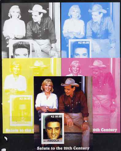 Angola 2002 Salute to the 20th Century #15 s/sheet - Elvis, Marilyn & Clark Gable - the set of 5 imperf progressive proofs comprising the 4 individual colours plus all 4-colour composite, unmounted mint
