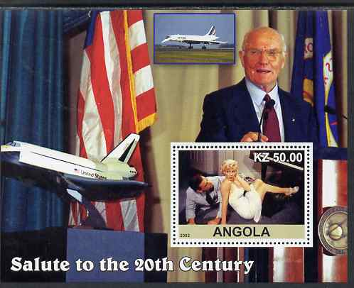Angola 2002 Salute to the 20th Century #16 perf s/sheet - Marilyn, John Glenn & Space Shuttle, unmounted mint. Note this item is privately produced and is offered purely ...