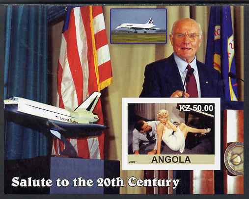 Angola 2002 Salute to the 20th Century #16 imperf s/sheet - Marilyn, John Glenn & Space Shuttle, unmounted mint. Note this item is privately produced and is offered purel...