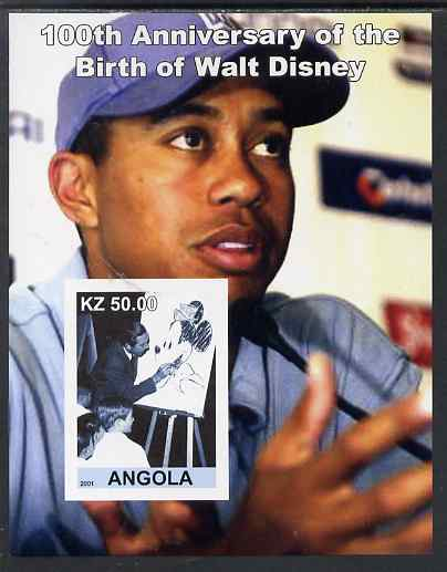 Angola 2001 Birth Centenary of Walt Disney #02 imperf s/sheet - Disney & Tiger Woods, unmounted mint. Note this item is privately produced and is offered purely on its th...