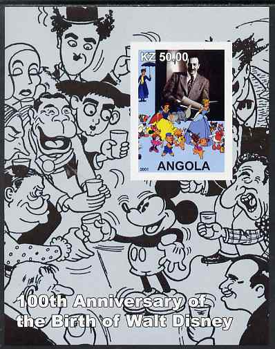 Angola 2001 Birth Centenary of Walt Disney #03 imperf s/sheet - Disney & charactures incl Charlie Chaplin, unmounted mint. Note this item is privately produced and is offered purely on its thematic appeal