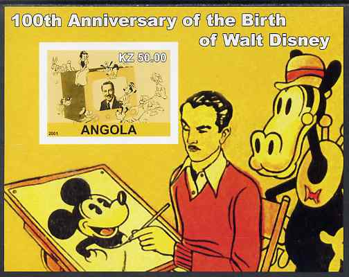 Angola 2001 Birth Centenary of Walt Disney #01 imperf s/sheet - Disney & various characters, unmounted mint. Note this item is privately produced and is offered purely on its thematic appeal