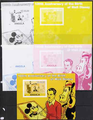 Angola 2001 Birth Centenary of Walt Disney #01 s/sheet - Disney & various characters - the set of 5 imperf progressive proofs comprising the 4 individual colours plus all...