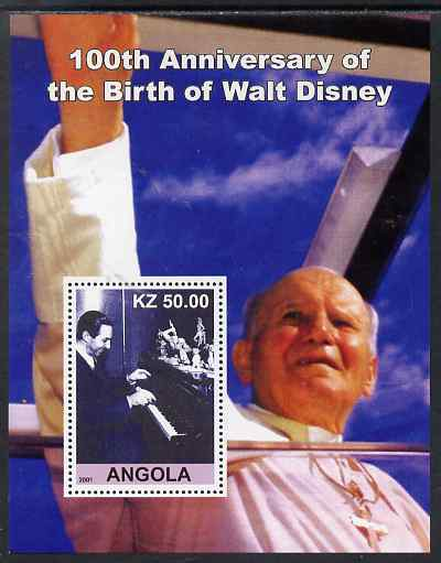 Angola 2001 Birth Centenary of Walt Disney #06 perf s/sheet - Disney at Piano & Pope, unmounted mint. Note this item is privately produced and is offered purely on its th...