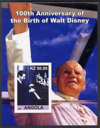 Angola 2001 Birth Centenary of Walt Disney #06 imperf s/sheet - Disney at Piano & Pope, unmounted mint. Note this item is privately produced and is offered purely on its ...