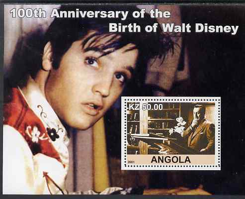 Angola 2001 Birth Centenary of Walt Disney #07 perf s/sheet - Disney & Elvis, unmounted mint