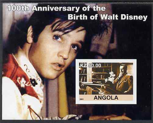 Angola 2001 Birth Centenary of Walt Disney #07 imperf s/sheet - Disney & Elvis, unmounted mint. Note this item is privately produced and is offered purely on its thematic...