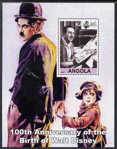 Angola 2001 Birth Centenary of Walt Disney #09 perf s/sheet - Disney & Charlie Chaplin, unmounted mint. Note this item is privately produced and is offered purely on its thematic appeal
