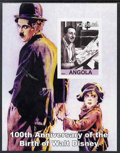 Angola 2001 Birth Centenary of Walt Disney #09 imperf s/sheet - Disney & Charlie Chaplin, unmounted mint