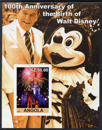 Angola 2001 Birth Centenary of Walt Disney #10 imperf s/sheet - Disneyland Fireworks & Ronald Reagan, unmounted mint. Note this item is privately produced and is offered ...